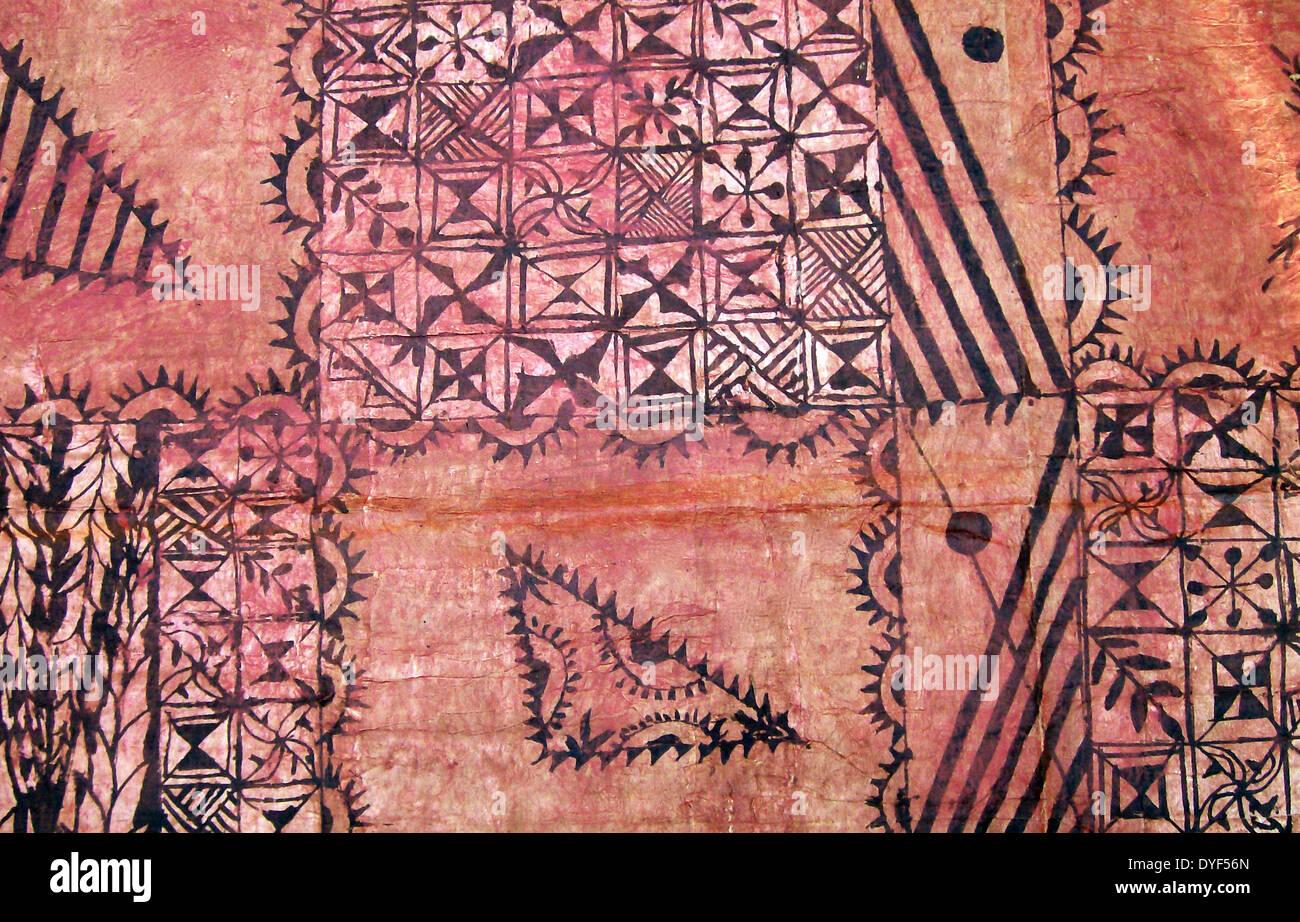 Tapa, o Ngatu pintadas, de Tonga, en el Pacífico Sur. Paño de tapas se realiza desde el interior de la corteza del mulberrytree (hiapo) y Imagen De Stock