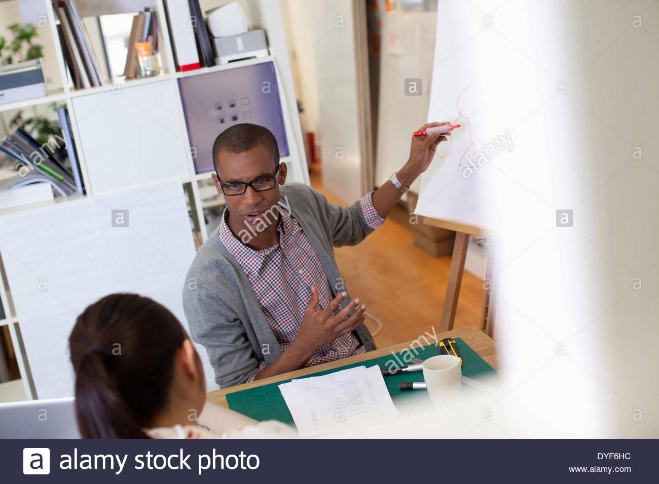 Empresario dibujo diagrama en un rotafolio en Office Imagen De Stock