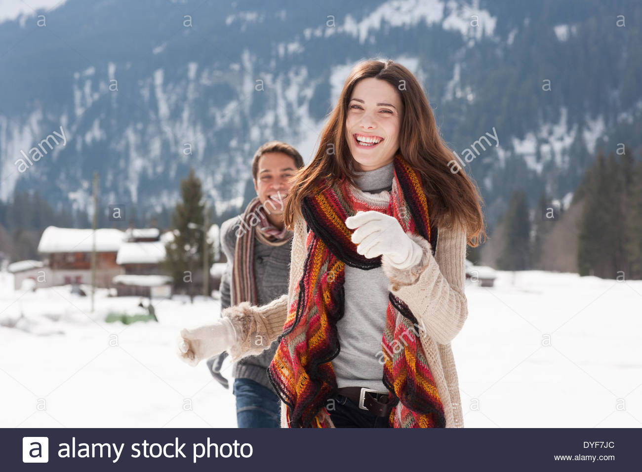 Par ejecutar afuera en la nieve Imagen De Stock