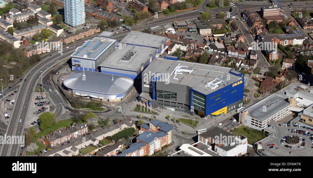 Vista aérea de la tienda de Ikea, en el centro de Coventry Imagen De Stock