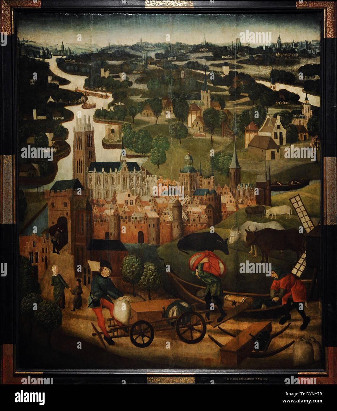 Maestro de St Elizabeth paneles, del siglo XV. La inundación del día de Santa Isabel, c. 1490-1495. Rijksmuseum. Amsterdam. Holland. Imagen De Stock