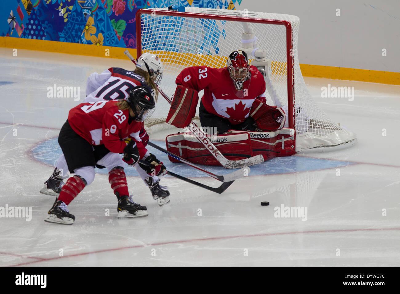 Charline Labonte portero canadiense, EE.UU.-Canadá Mujeres Hockey sobre hielo en los Juegos Olímpicos de Invierno, Sochi 2014 Imagen De Stock