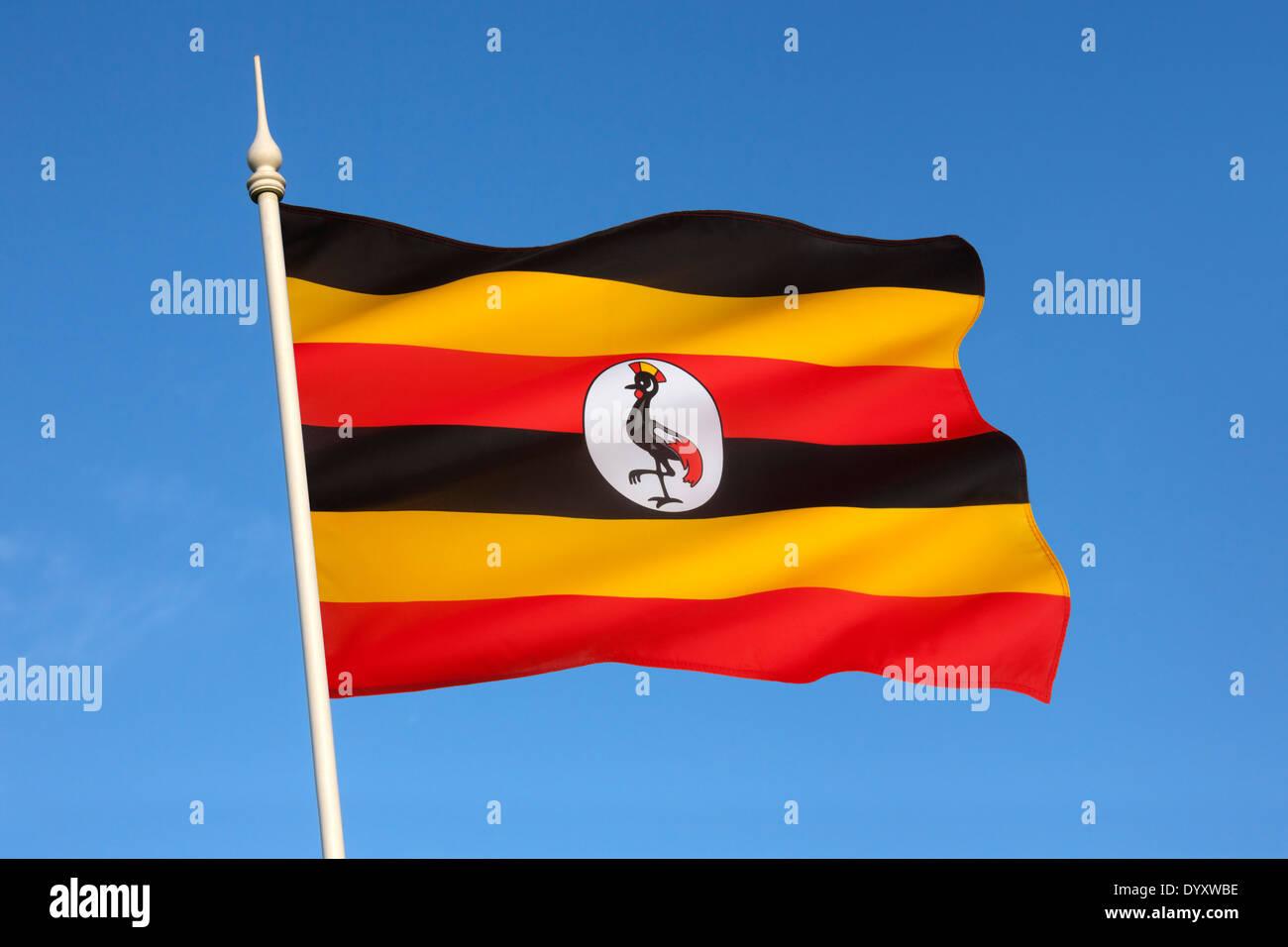 La bandera de Uganda Imagen De Stock