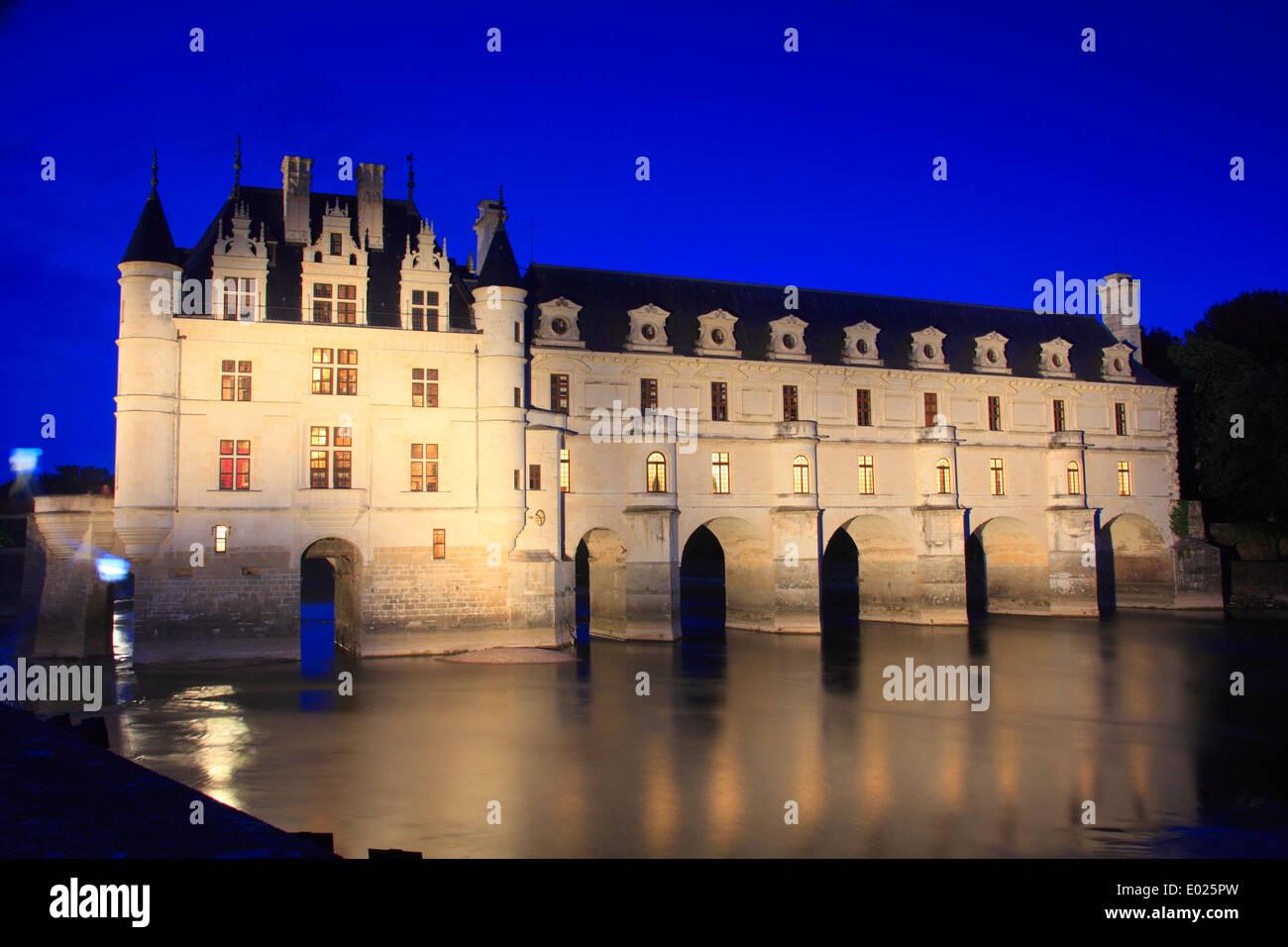 Foto del castillo de Chenonceau, el río Cher, Valle del Loira, Francia Imagen De Stock
