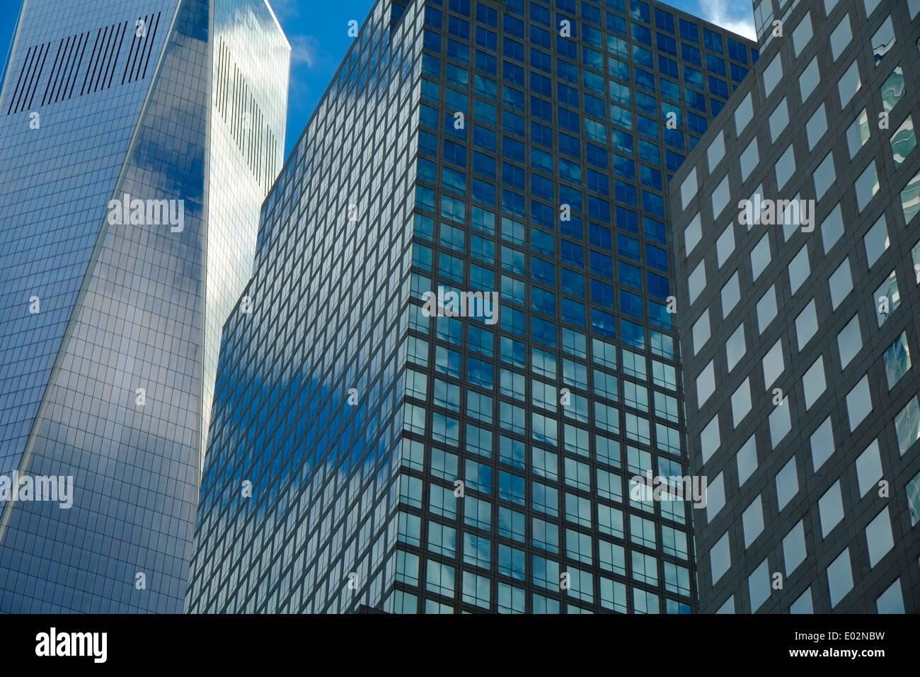Modernos edificios de oficinas, el distrito financiero de Manhattan, Nueva York Imagen De Stock