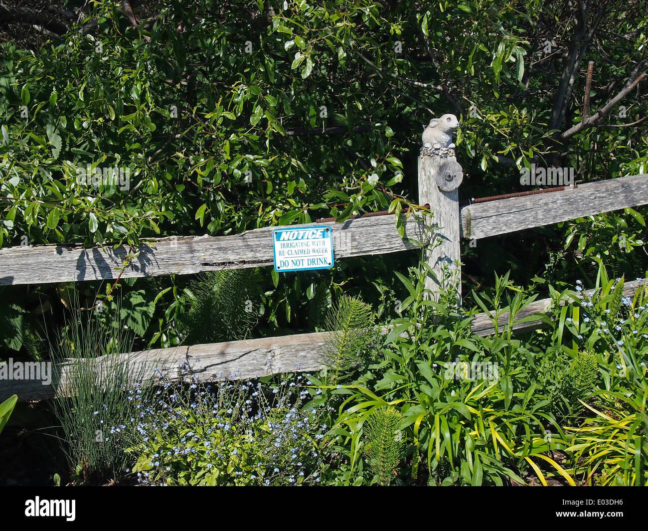 Advertencia El riego con re-reclamada no beba agua firmar junto Calera Creek Imagen De Stock