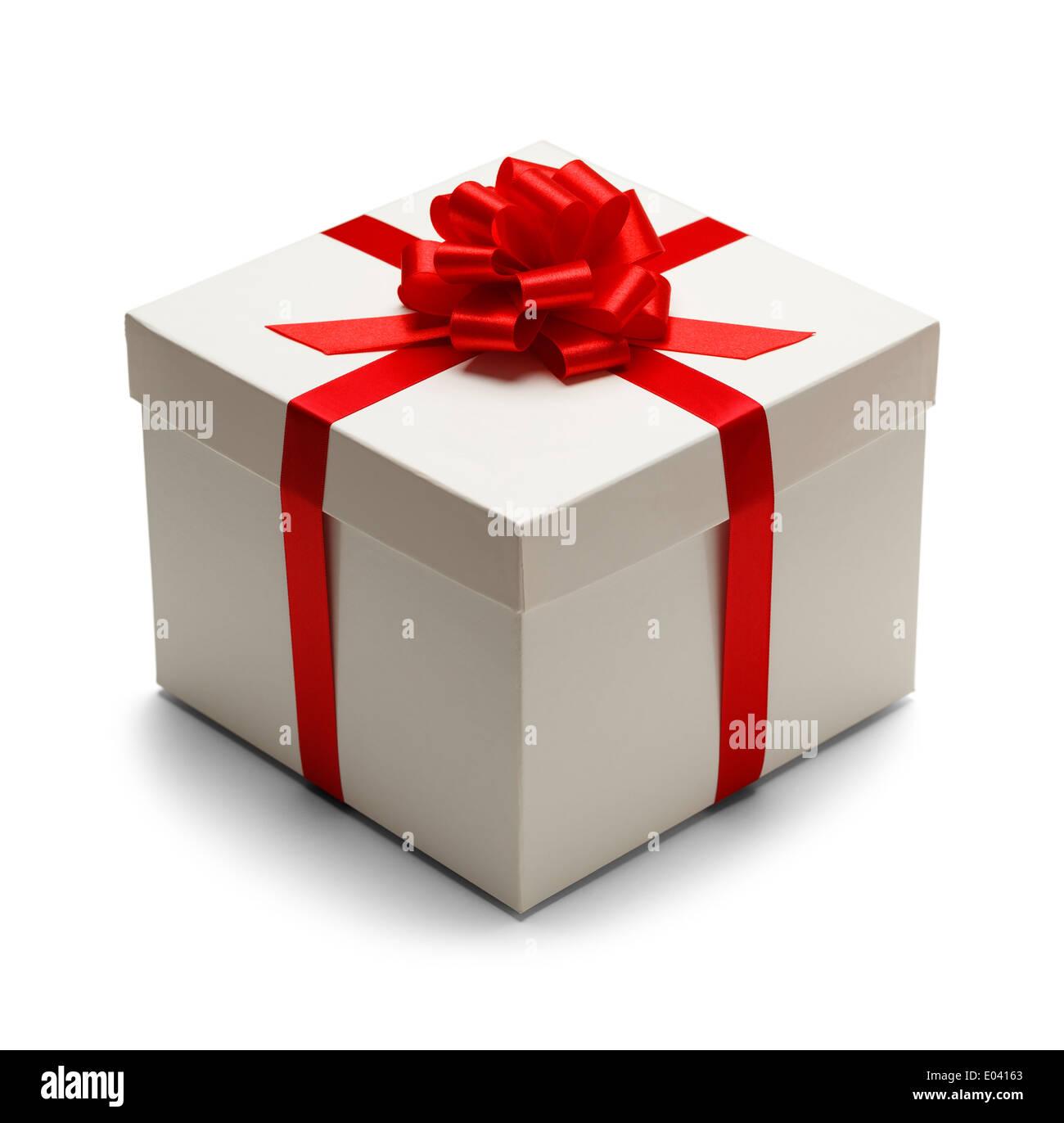 Caja blanca con tapa y Lazo Rojo con cinta aislado sobre fondo blanco. Imagen De Stock