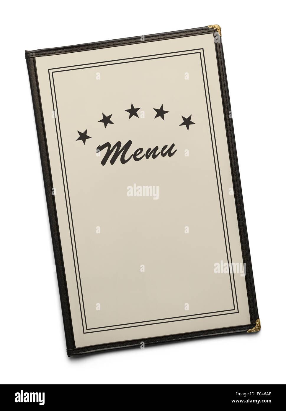 El menú del restaurante genérico en blanco con copia espacio aislado sobre fondo blanco. Imagen De Stock