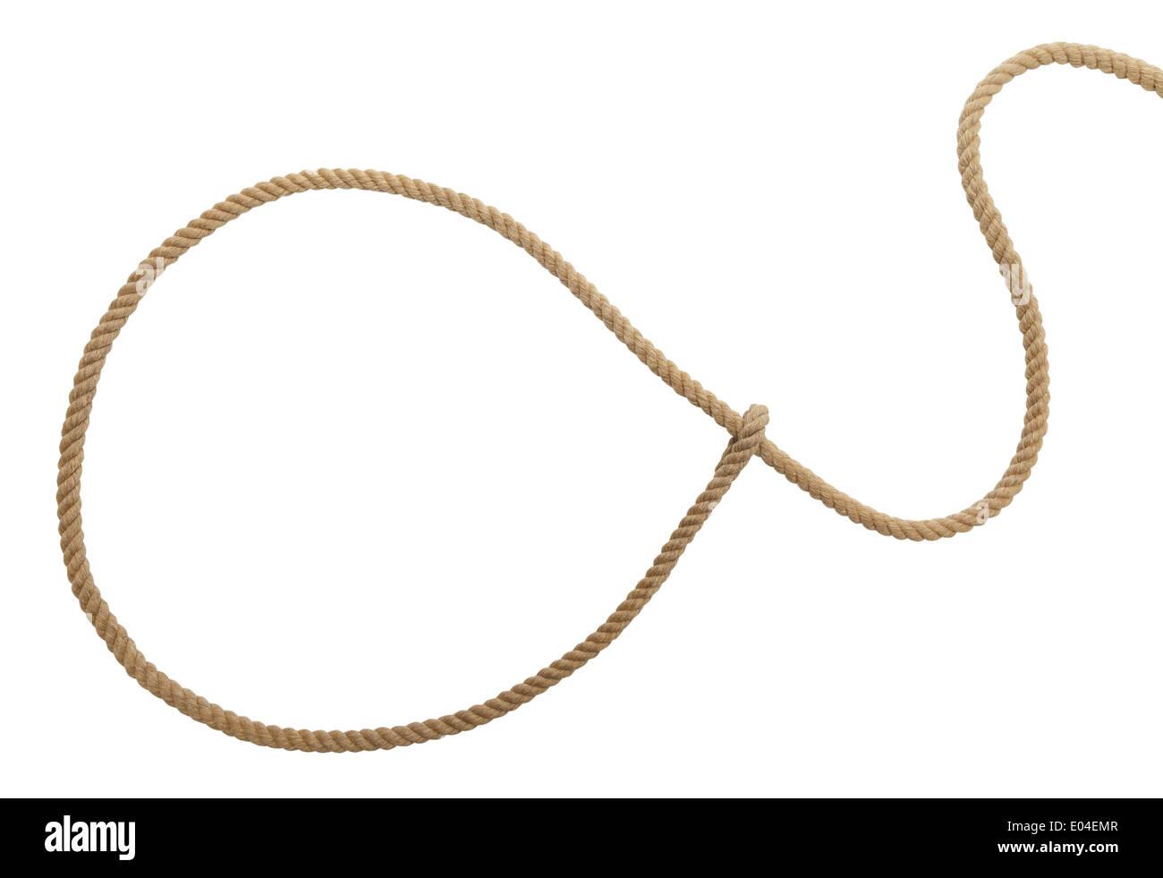 Brown Vaqueros Lasso cuerda aislado sobre fondo blanco. Imagen De Stock