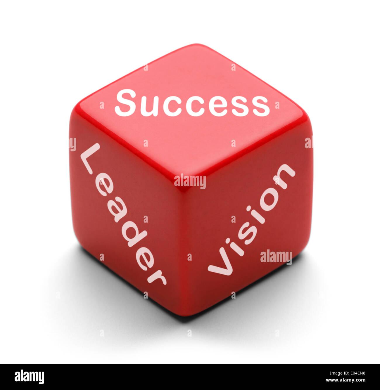Dado rojo con éxito y visión de líder aislado sobre fondo blanco. Imagen De Stock