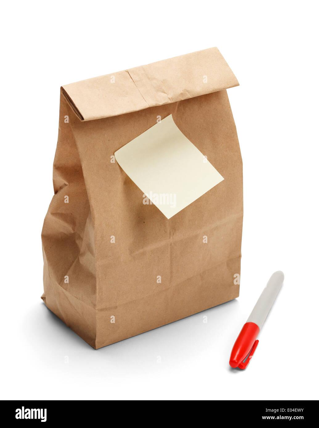Brown Bag Lunch Papel con copia espacio y sticky note plus marcador aislado sobre un fondo blanco. Imagen De Stock