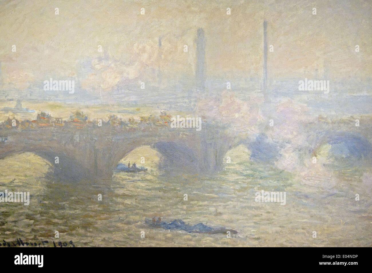 Claude Monet Waterloo Bridge, Día Gris Imagen De Stock
