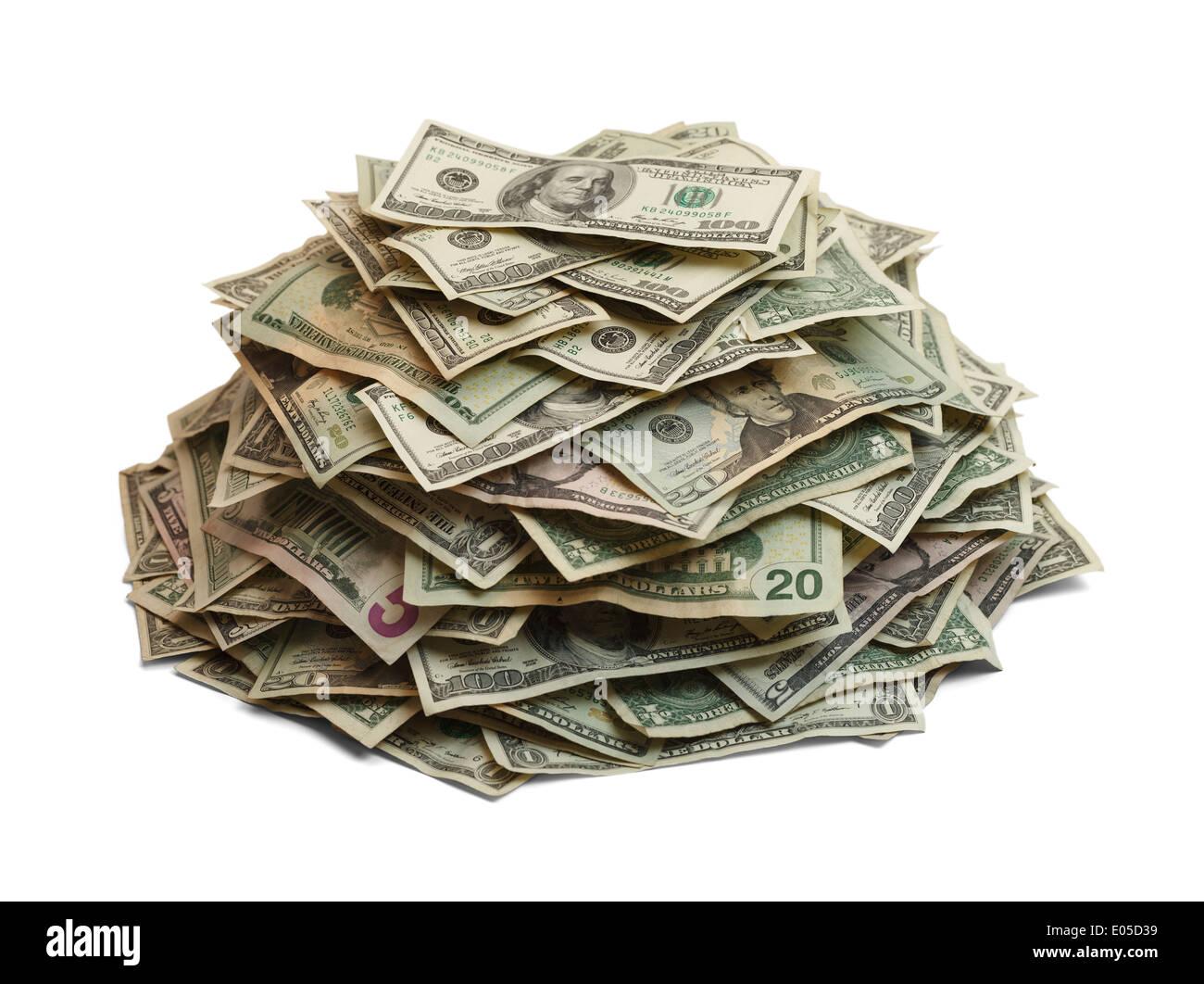 Montón de dinero aislado sobre fondo blanco. Imagen De Stock