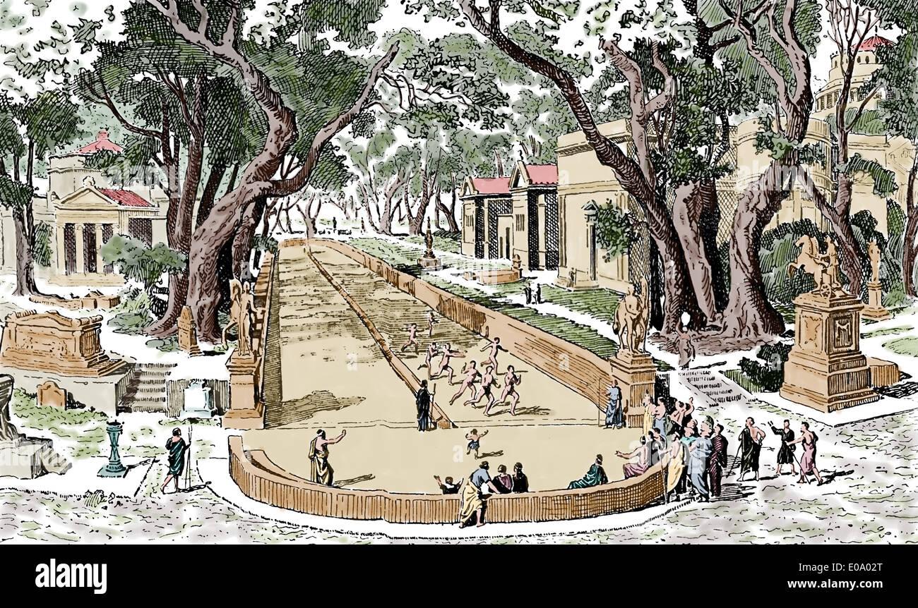 La antigua Grecia. El hipódromo en Esparta. Grabado. Esquemas de Historia general, 1899. Posteriormente coloración. Imagen De Stock