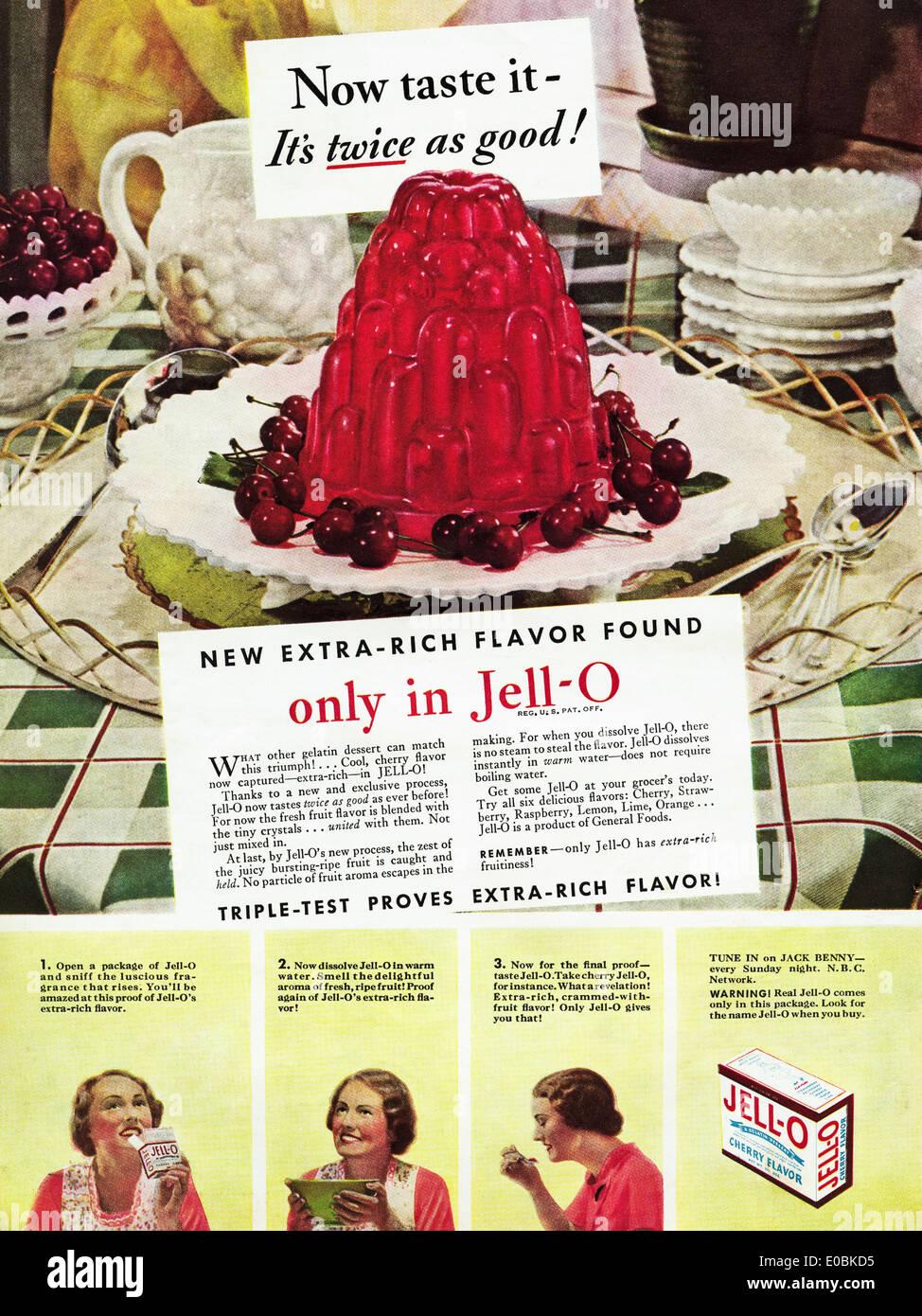 Anuncio de JELL-O en la revista americana con fecha de diciembre de 1934 Foto de stock