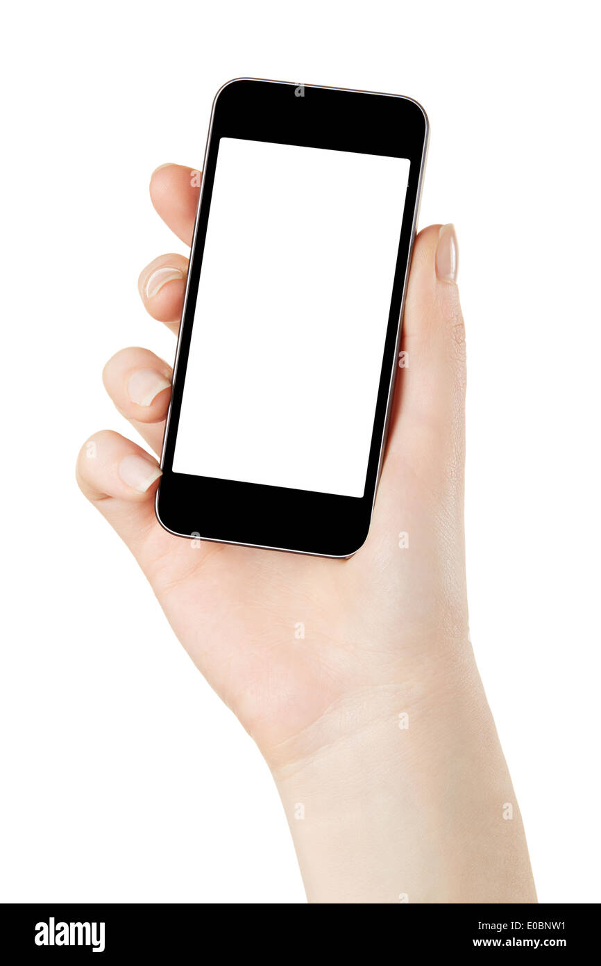 Mano sujetando teléfonos inteligentes con pantalla en blanco Imagen De Stock