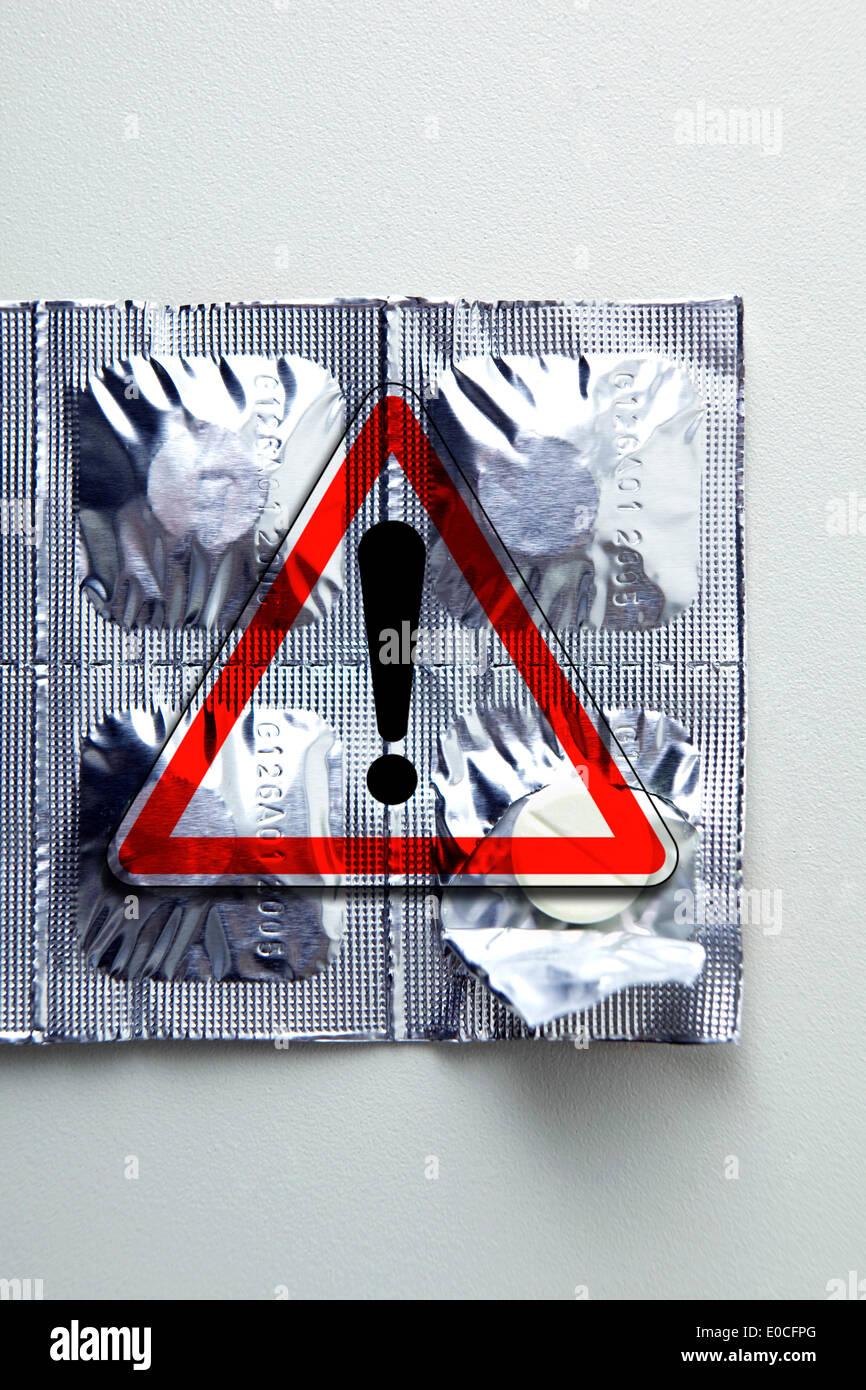 Los efectos secundarios del medicamento Foto de stock