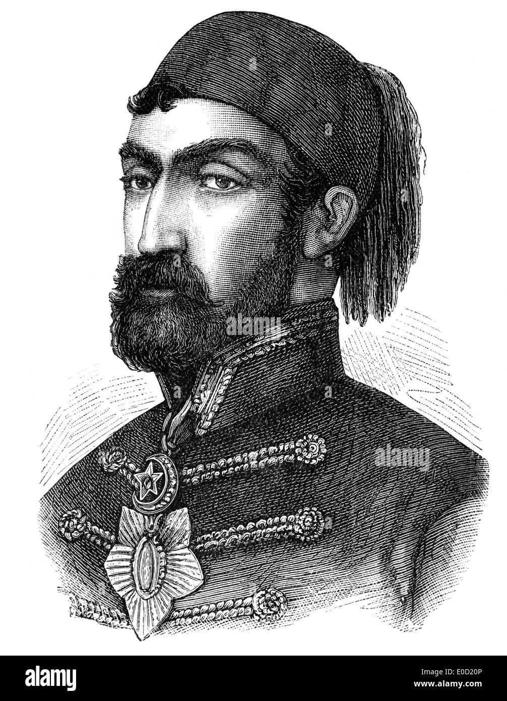 Omar Pasha o Omar Latas o Mihajlo Latas, 1806-1871, y el gobernador general otomano, comandante en la guerra de Crimea, 1853 - 1856 Foto de stock