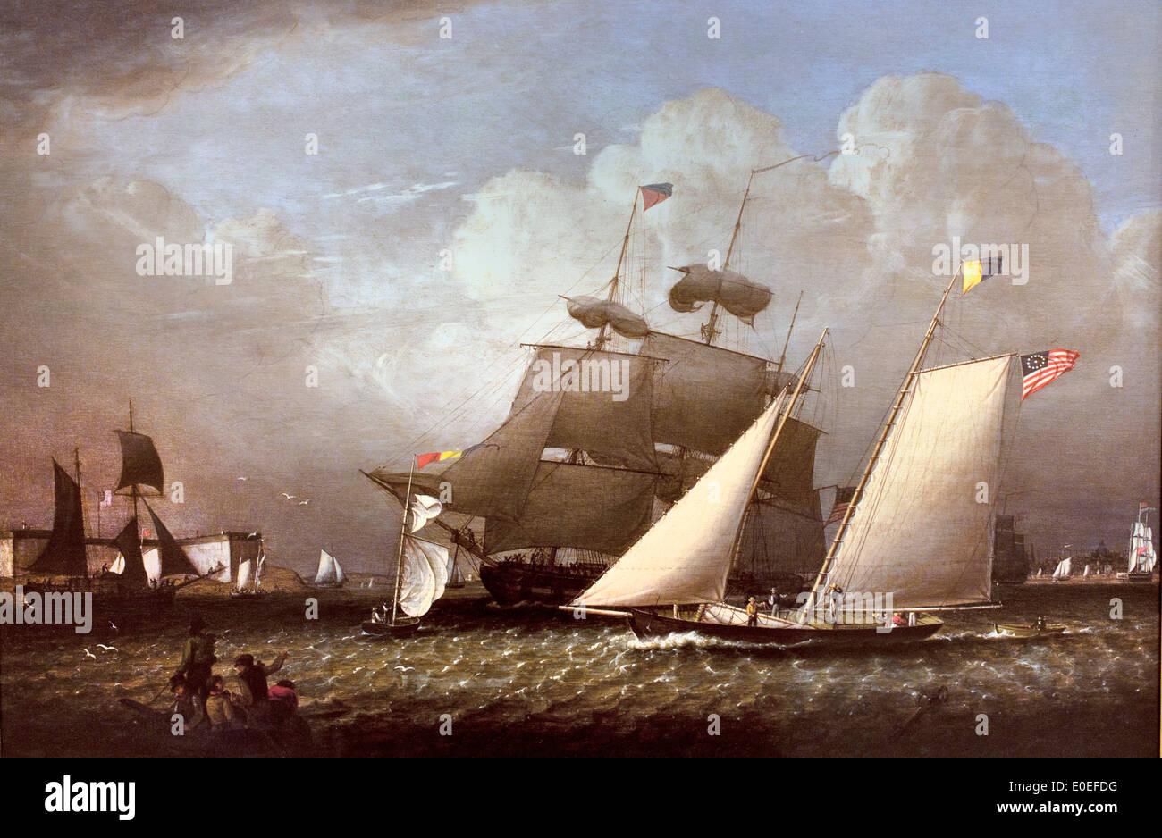 Imagen de la 'dueño' Placer Yacht 1839 Robert Salmón Americano 1775-1845 Estados Unidos de América EE.UU. Imagen De Stock