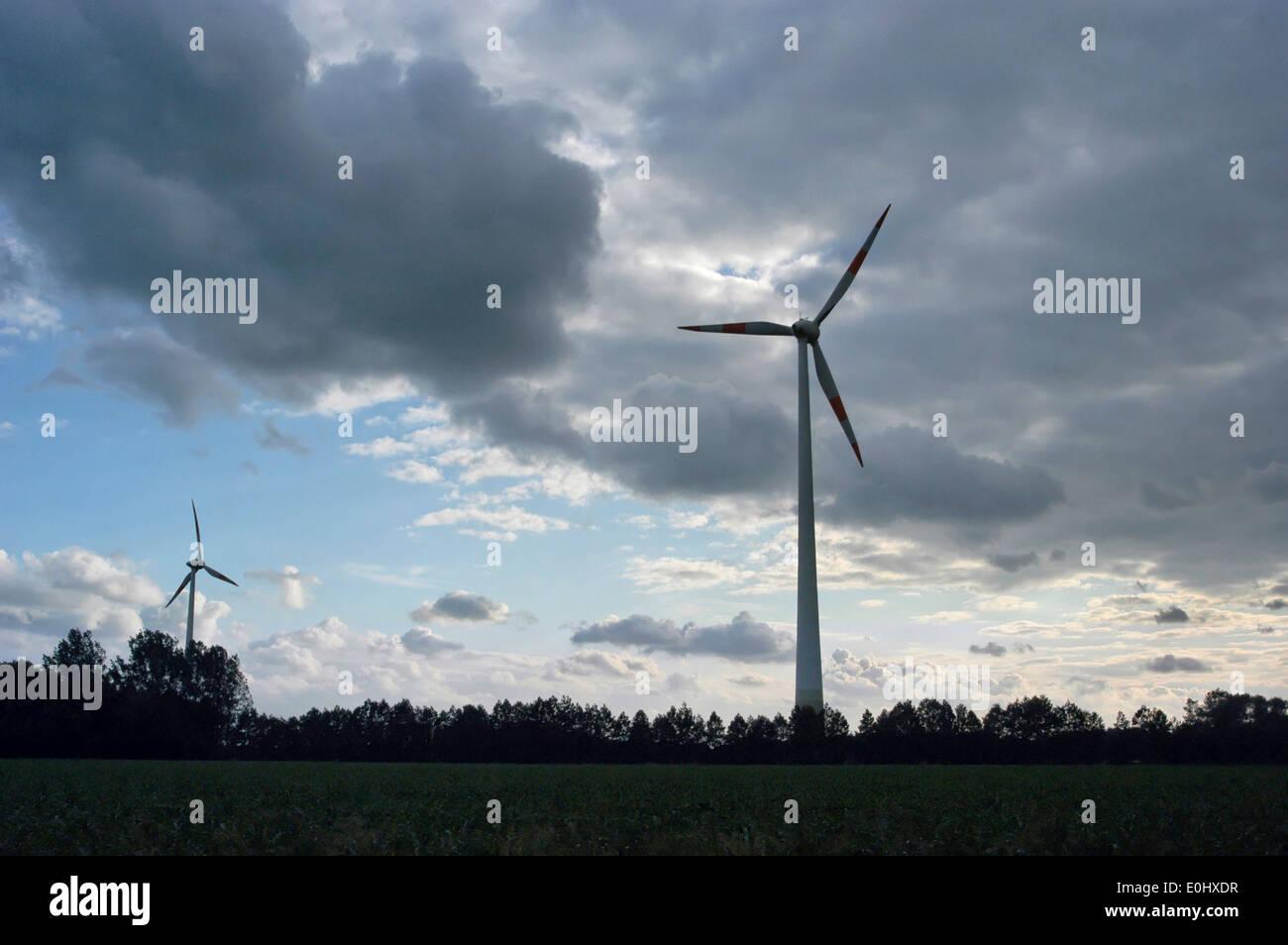 Alemania, cerca de Colonia, la energía eólica, aerogeneradores, Deutschland, Nahe Köln, Windenergie, aerogenerador Imagen De Stock