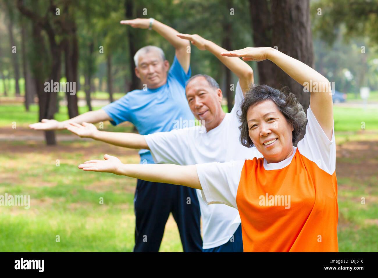 Los ancianos haciendo gimnasia en el parque Imagen De Stock