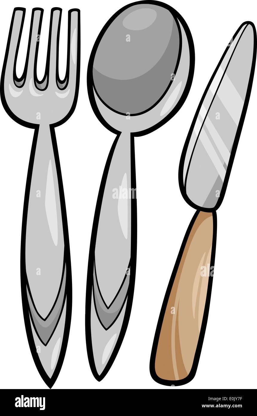 Ilustracion De Dibujos Animados De Utensilios De Cocina Tenedor Y