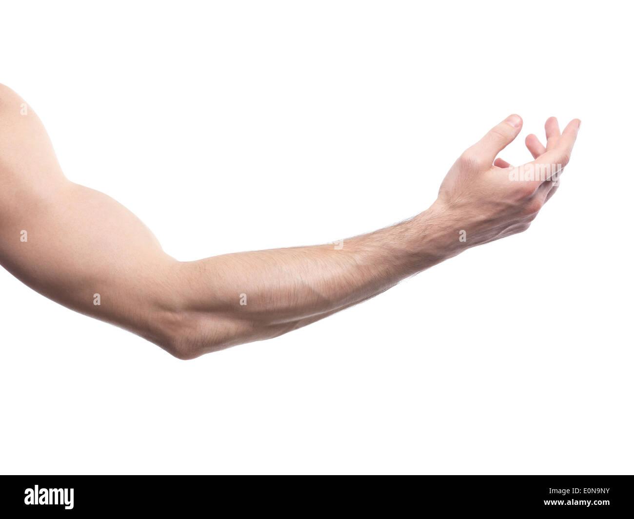 El hombre con el brazo doblado en un codo aislado sobre fondo blanco. Imagen De Stock