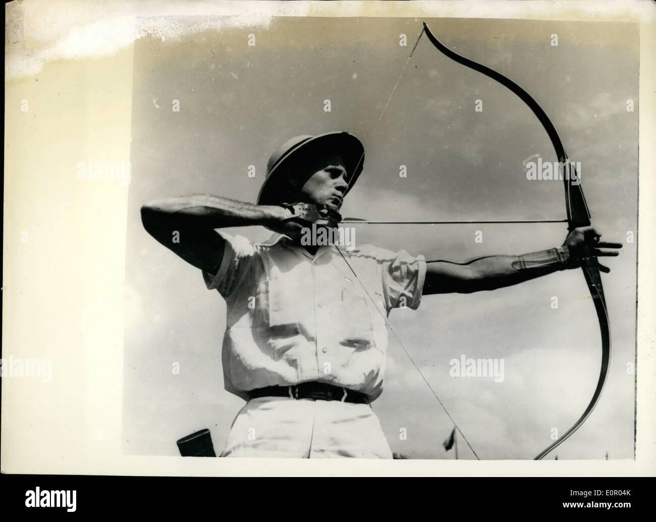 Jul 07, 1957 - American hombres y mujeres toman cuatro primeros lugares en el Campeonato Mundial de tiro con arco en Praga: La American Men's team Imagen De Stock