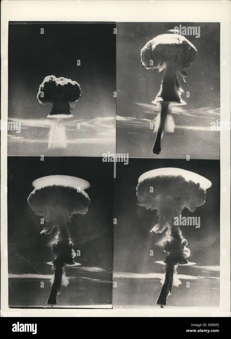 Jun 06, 1957 - Fotografía oficial británico crecido copyright reservados: Una foto oficial de Gran Bretaña de la tercera explosión de ensayo de armas nucleares que tuvo lugar el 19 de junio de 1957. El dispositivo fue bajado a gran altitud en la zona de la Isla de Navidad del Pacífico central. Esta explosión completa la actual serie de pruebas. La foto muestra una serie de cuatro fotografías mostrando Gran Bretaña del tercer ensayo de explosión nuclear. Foto de stock