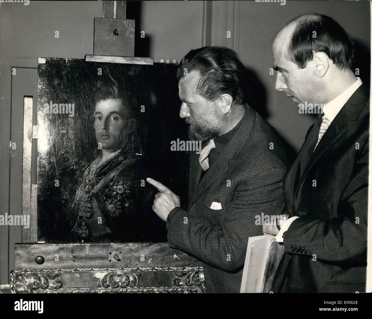 Mayo 05, 1965 - el retrato de Goya Del Duque De Wellington está de vuelta en la Galería Nacional. El retrato de Foto de stock