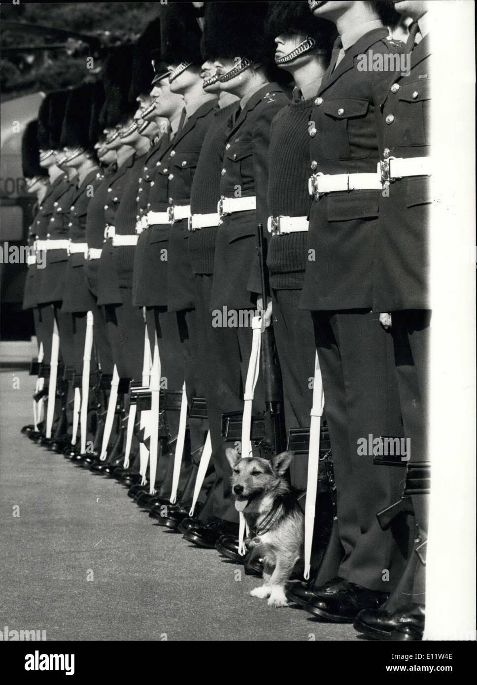 09 de abril de 1980 - la Guardia Galesa Desfile para decir adiós a los ratas:' en Elizabeth Barracks, Pirbright Camp. Brookwood' Workling ~~~~~ hoy el 1er Batallón de guardias galeses estaban en Desfile ~~~~~~ adiós a las ratas el estrellado (Corgie/Terrier) que se ha retirado ayer por Consejo, Rats US pensó que tenía 12 años y gran parte de él se ha gastado con las compañías de reclutamiento en Crossmagien South Armagh, Irlanda del Norte en diciembre del año pasado fue galardonado con la medalla de oro Pro Dogs por el Perro más devoto a deber y fue dado a regresar a Londres para la presentación Foto de stock