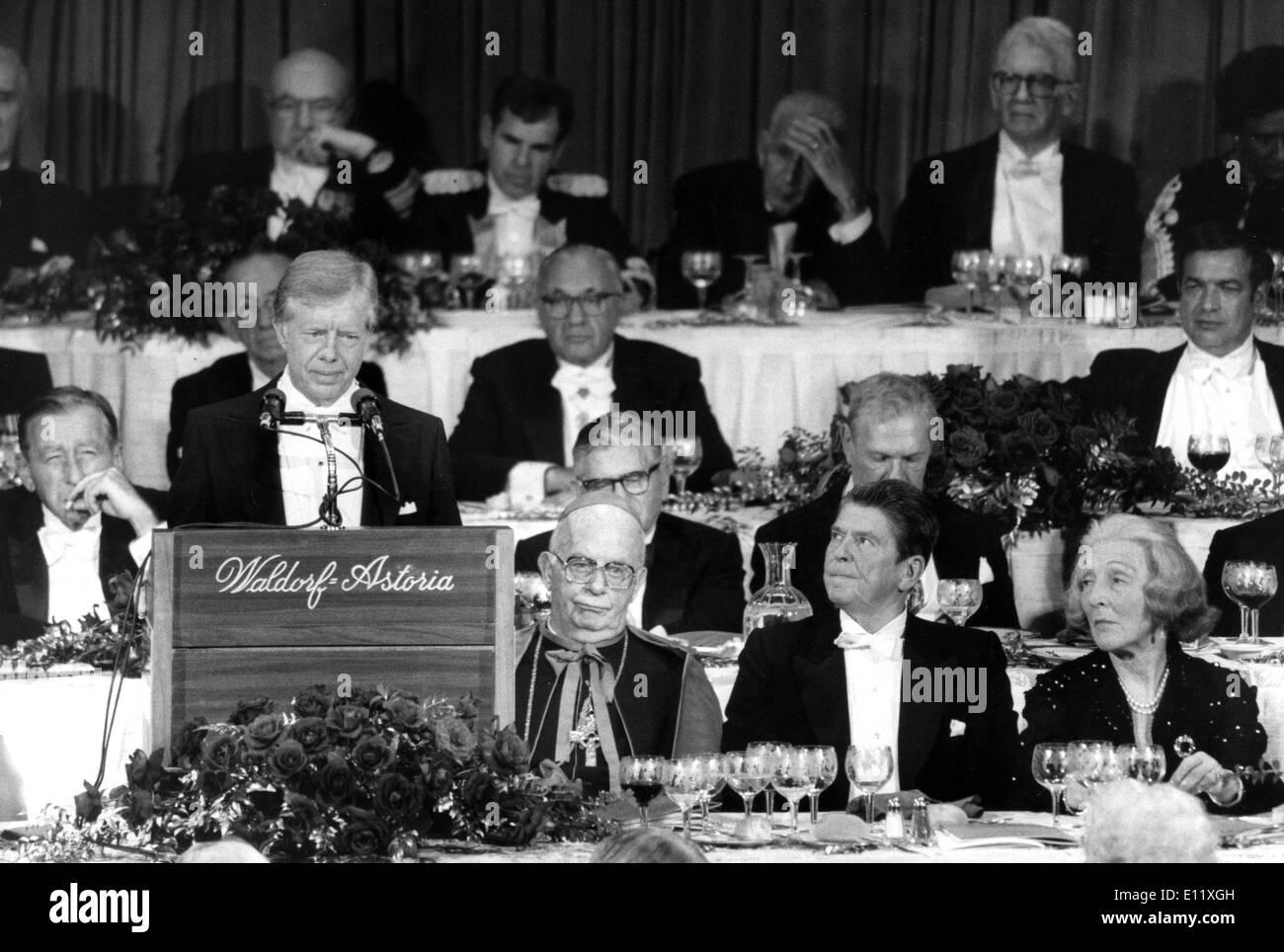 Oct 16, 1980; Nueva York, NY, EUA; Reagan murió el 5 de junio, 2004. El 40º Presidente de Estados Unidos (1981-89), Ronald Wilson Reagan (Republicano). Imagen De Stock