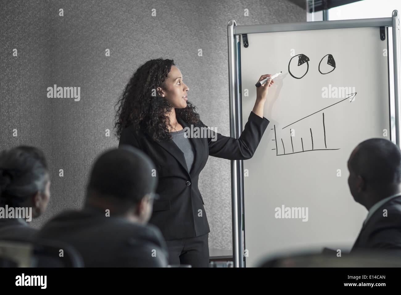 La empresaria hablando con colegas de reunión Foto de stock
