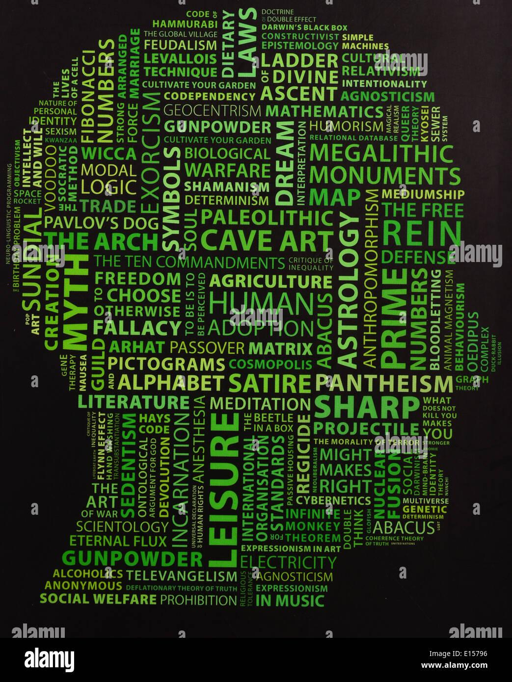 Cabeza humana llena de palabras Imagen De Stock