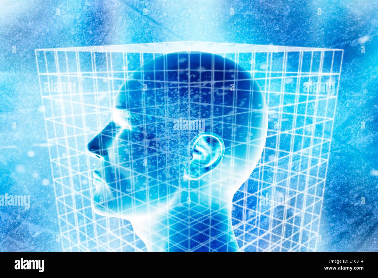 Cabeza humana en un cubo con cable, Ilustración conceptual para la ciencia Imagen De Stock