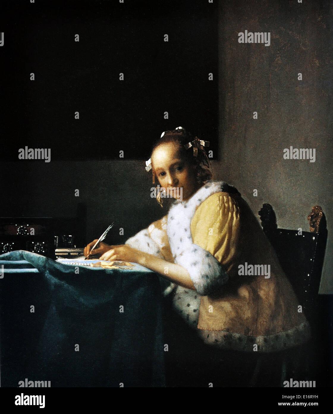 Johannes Vermeer - una dama escrito, 1665 Imagen De Stock