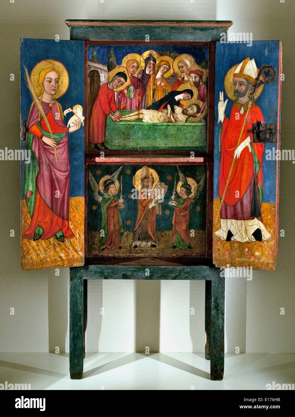 Armario con litúrgica del Santo Entierro Santa Inés 1400 Perpignan? ( Cataluña Rosellón ) Arte gótico medieval español Foto de stock