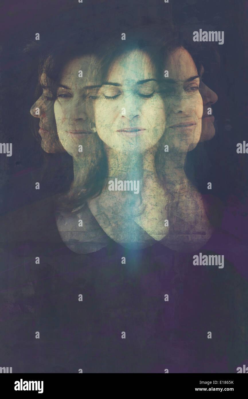 Retrato de mujer meditación mente. Imagen De Stock