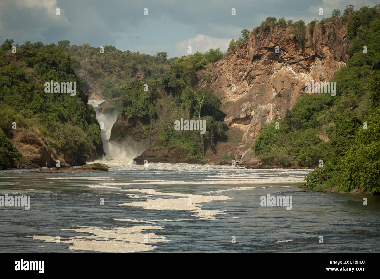 De Murchison Falls en el río Nilo - Uganda, África Oriental. Imagen De Stock