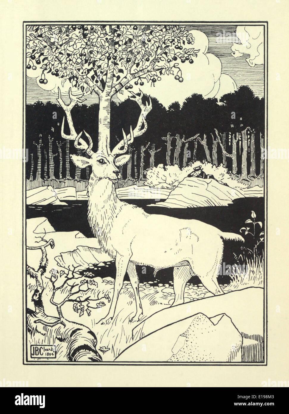 """J. B. Clark ilustración de 'las sorprendentes aventuras del barón de Munchausen"""" por Rudoph Raspe publicada en 1895. Stag Foto de stock"""