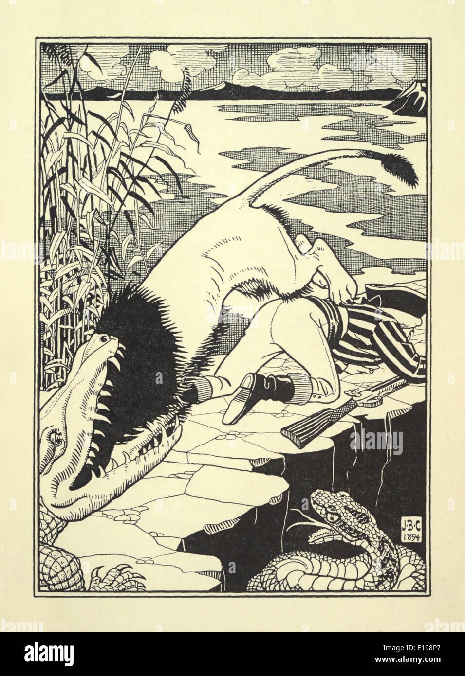 """J. B. Clark ilustración de 'las sorprendentes aventuras del barón de Munchausen"""" por Rudoph Raspe publicada en 1895. Lion & Croc Foto de stock"""