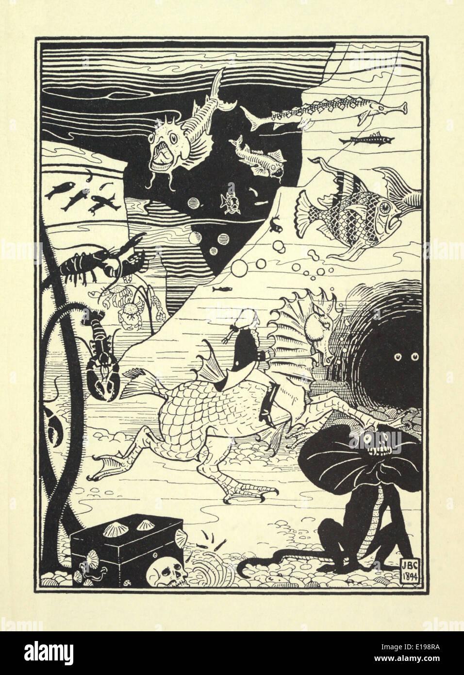 """J. B. Clark ilustración de 'las sorprendentes aventuras del barón de Munchausen"""" por Rudoph Raspe publicada en 1895. Pescados Foto de stock"""