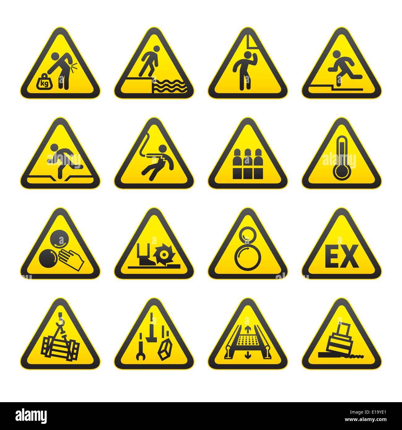 c3d8348258fbe Conjunto de señales de advertencia de peligro triangular Ilustración ...