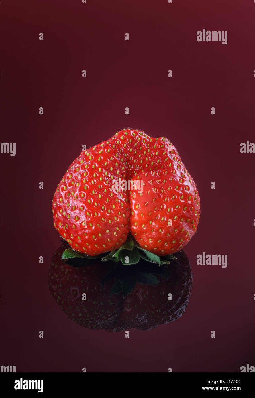 Solo fresas frescas sobre fondo rojo. Imagen De Stock