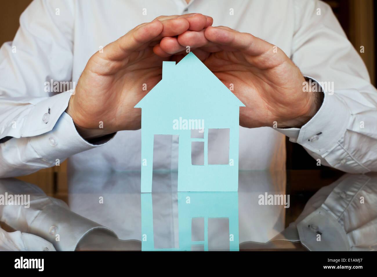 Concepto de seguros inmobiliarios Imagen De Stock