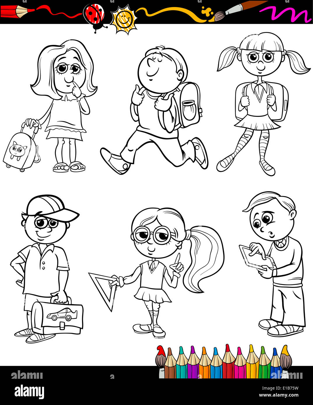 Libro Para Colorear O Página Cartoon Ilustración A Color O