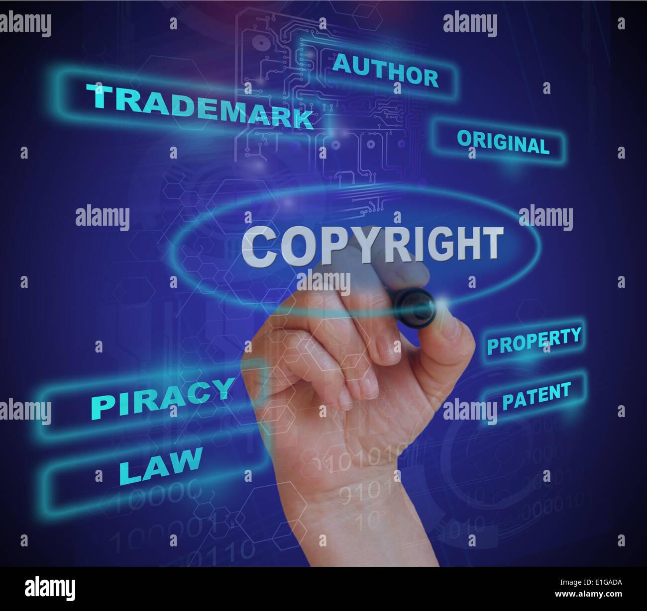 Escribir palabra copyright con marcador de fondo degradado realizado en 2d software Foto de stock
