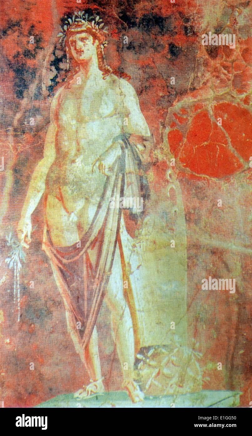 Fresco representando el dios Apolo, dios de la música, la poesía, el arte, oráculos, tiro con arco, la peste, la Foto de stock