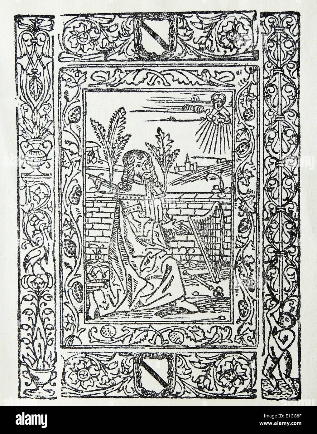 Ilustración de la Exposicion de Devotissima Title-Page sobre el psalmo de Miserere. Fecha 1578 Imagen De Stock