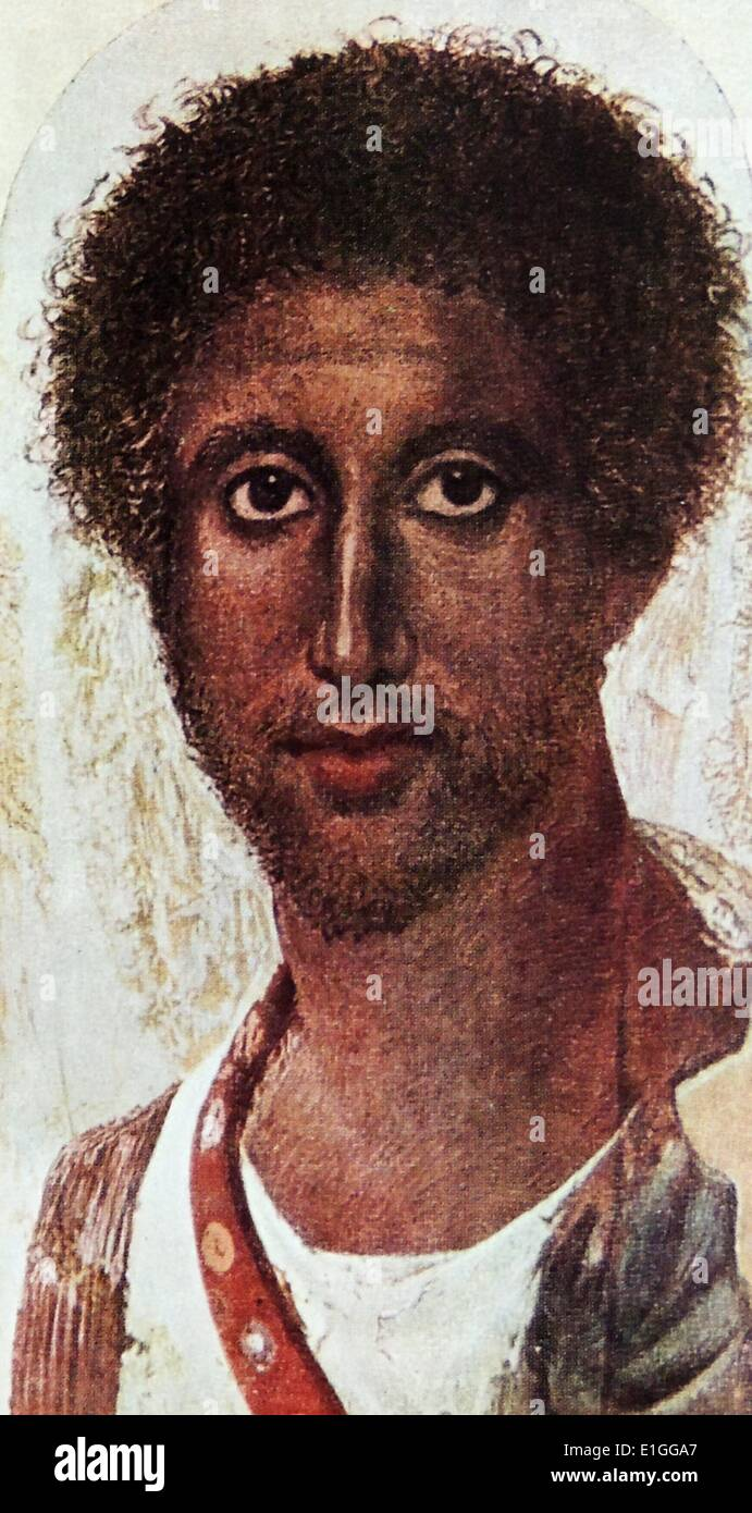 Retrato funerario romano desconocido de un macho. El retrato fue descubierto en Egipto. Foto de stock